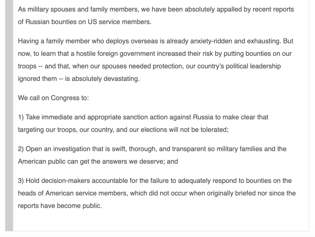 Russian Bounties on American Troops Sign SFI Petition Demanding Answers
